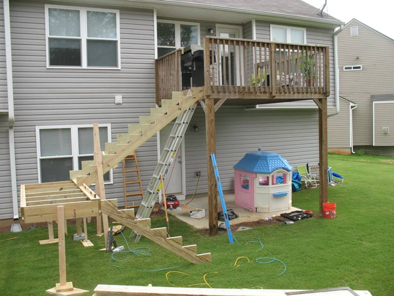 how to build deck stairs without a landing