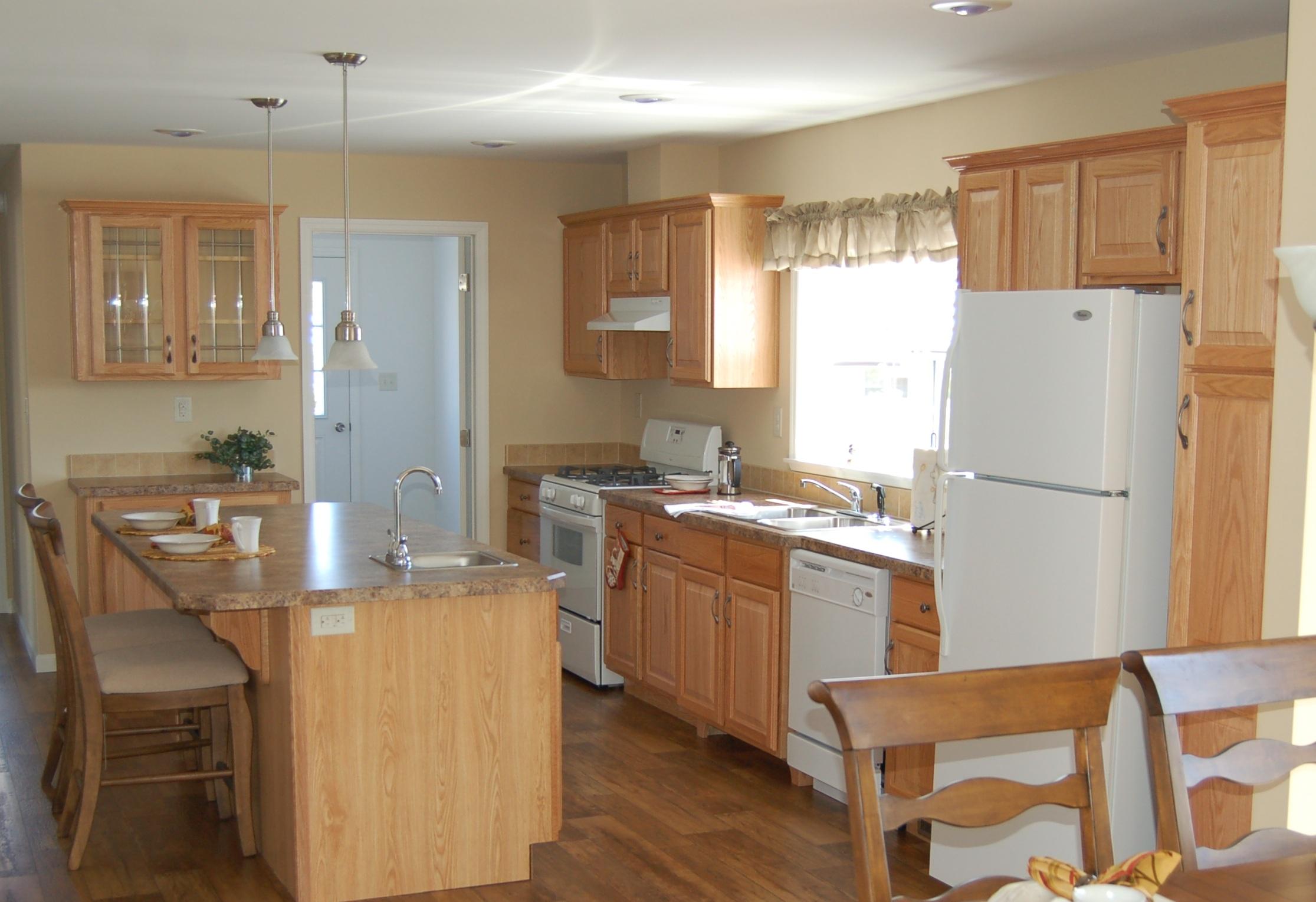 White And Natural Wood Kitchens